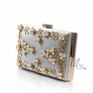 Сребриста бална чанта