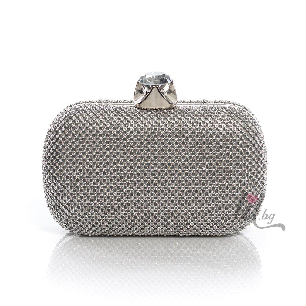 Сребриста елегантна чанта