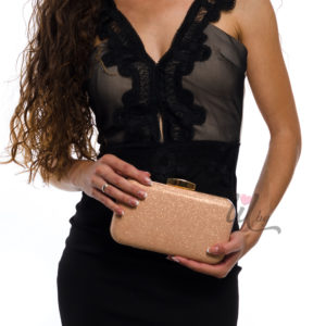 luxury evening pink gold bag