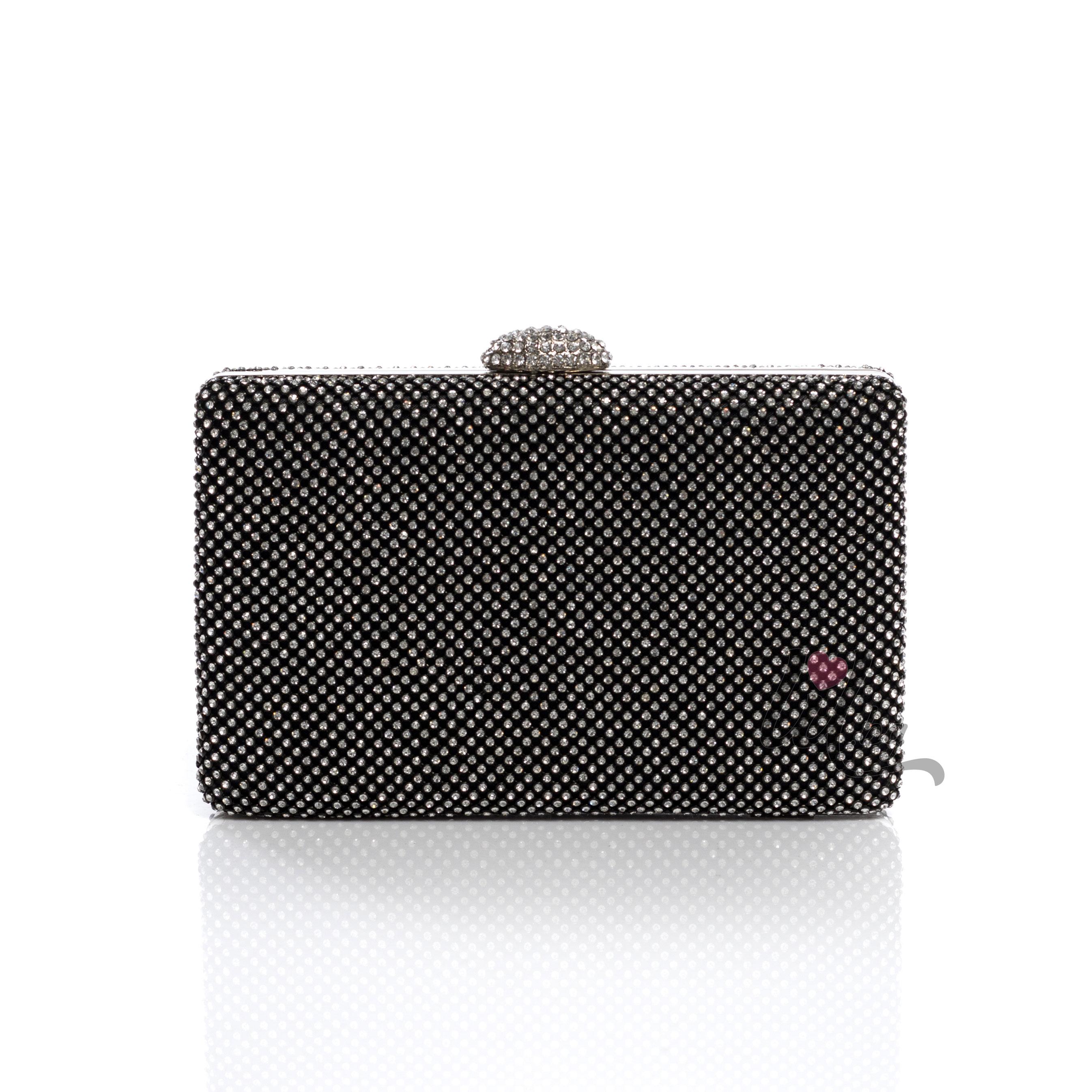 757333f9e1a ... Черна официална чанта клъч с камъни Селест. Промо. Previous. Next