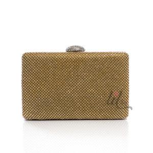 Златиста официална чанта клъч с камъни