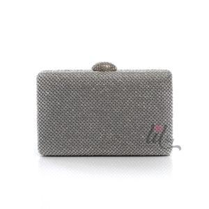 Сребриста официална чанта клъч с камъни