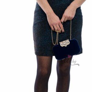 Синя луксозна чанта