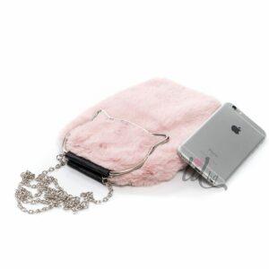 Розова чанта с пух