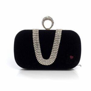Черна бална чанта