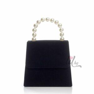Черна луксозна велурена чанта
