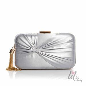 Сребриста копринена чанта