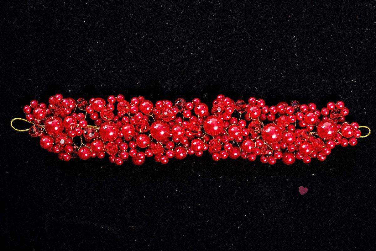Червено бижу за коса с перли