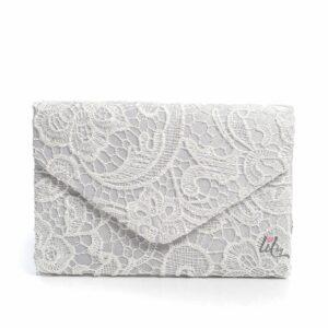 Бяла дантелена чанта