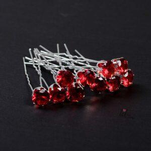 Червени фуркети с камъни