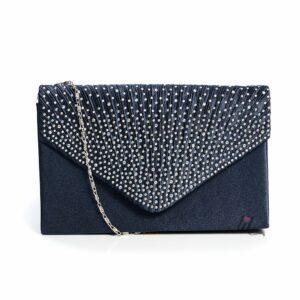 Тъмно синя чанта с камъни