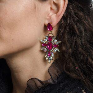 Висящи розови обеци с многоцветен ефект