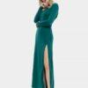 Зелена дълга рокля
