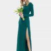 Дълга вечерна рокля в цвят изумруд
