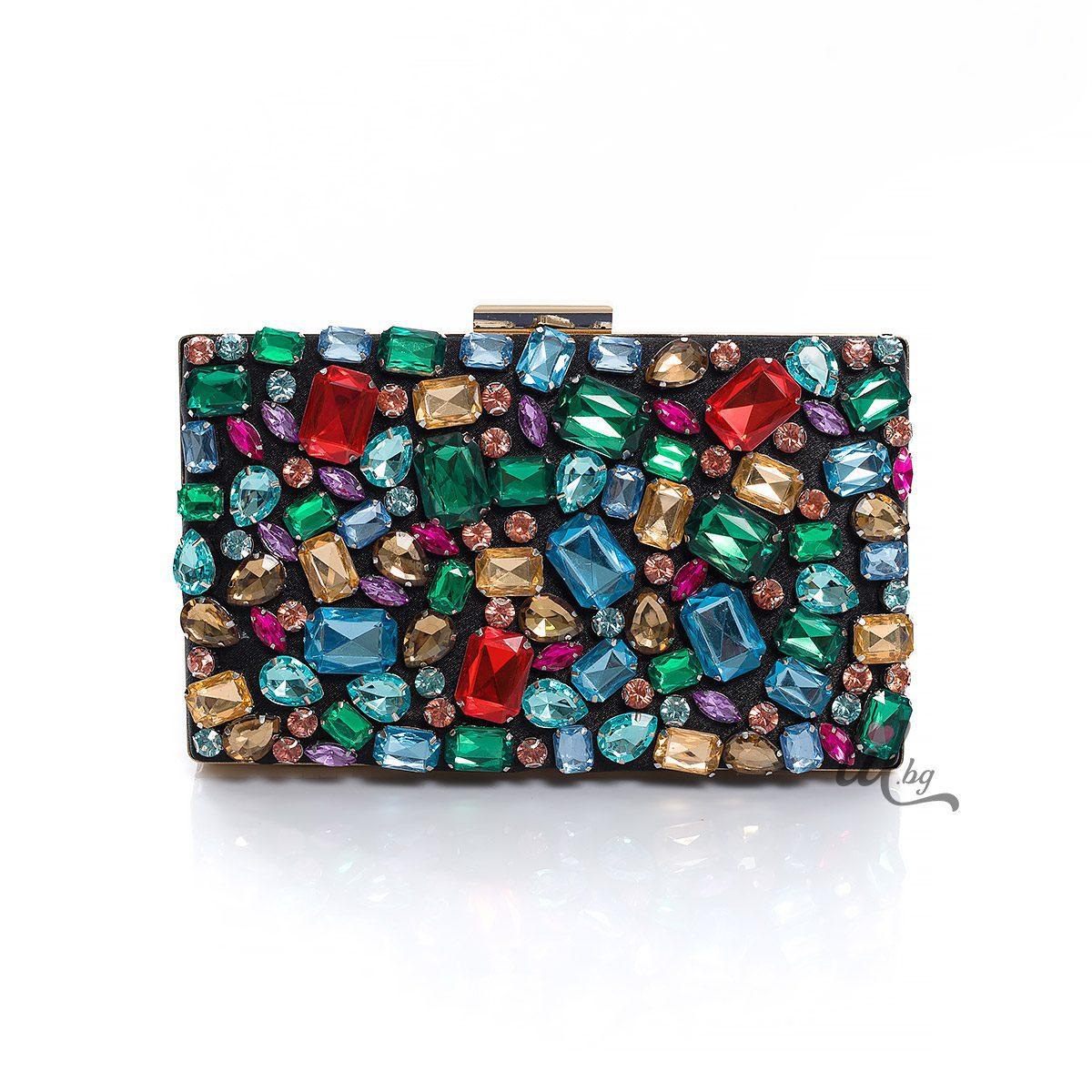 Чанта с цветни кристали